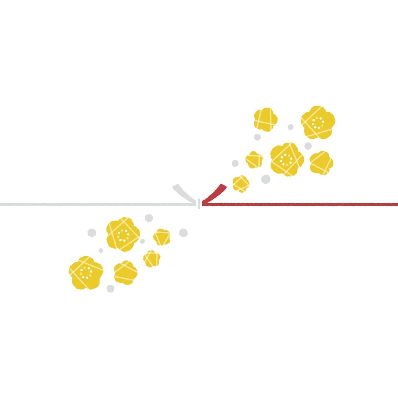 黄色い花を散りばめたカジュアルなのし紙(結びきり)