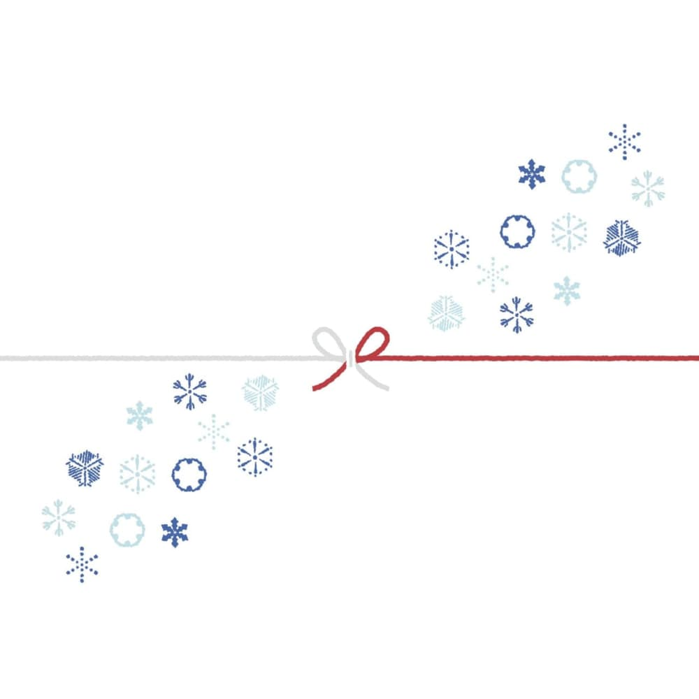 雪の結晶をちりばめたカジュアルなのし紙(蝶結び)