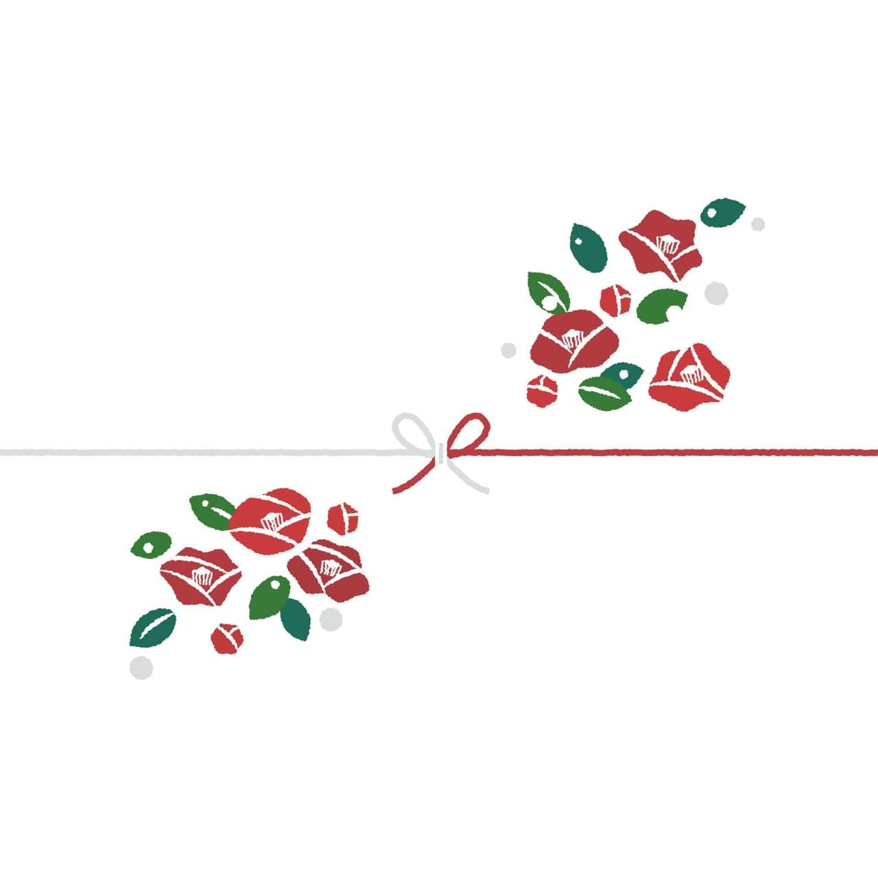 椿の花を散りばめたカジュアルなのし紙(蝶結び)