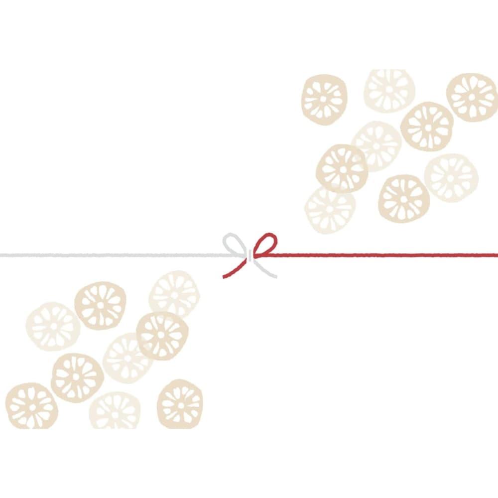 輪切りのレンコンを散りばめたカジュアルなのし紙(蝶結び)