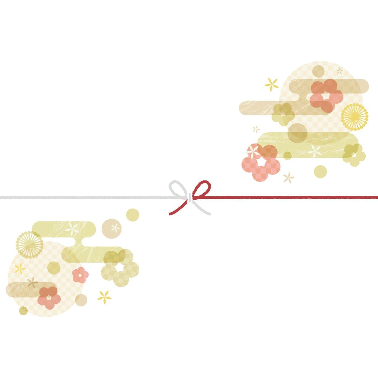 可愛い和柄を散りばめたカジュアルなのし紙(蝶結び)