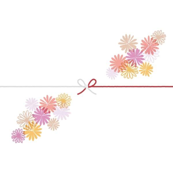 可愛いマーガレットの花を散りばめたカジュアルなのし紙(蝶結び)