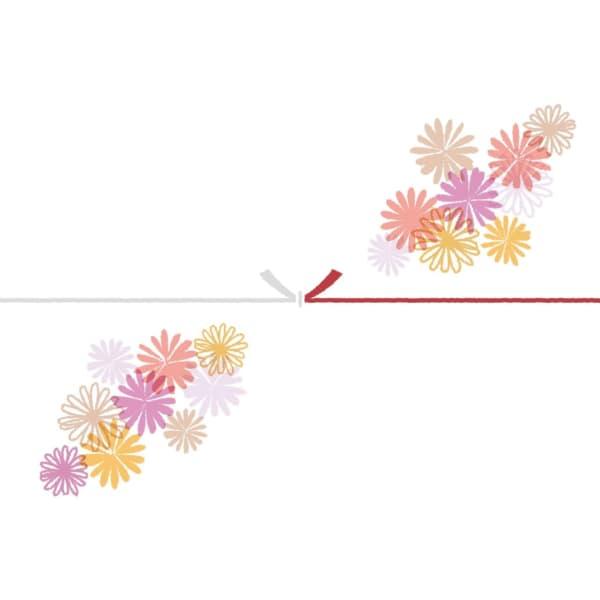可愛いマーガレットの花を散りばめたカジュアルなのし紙(結びきり)