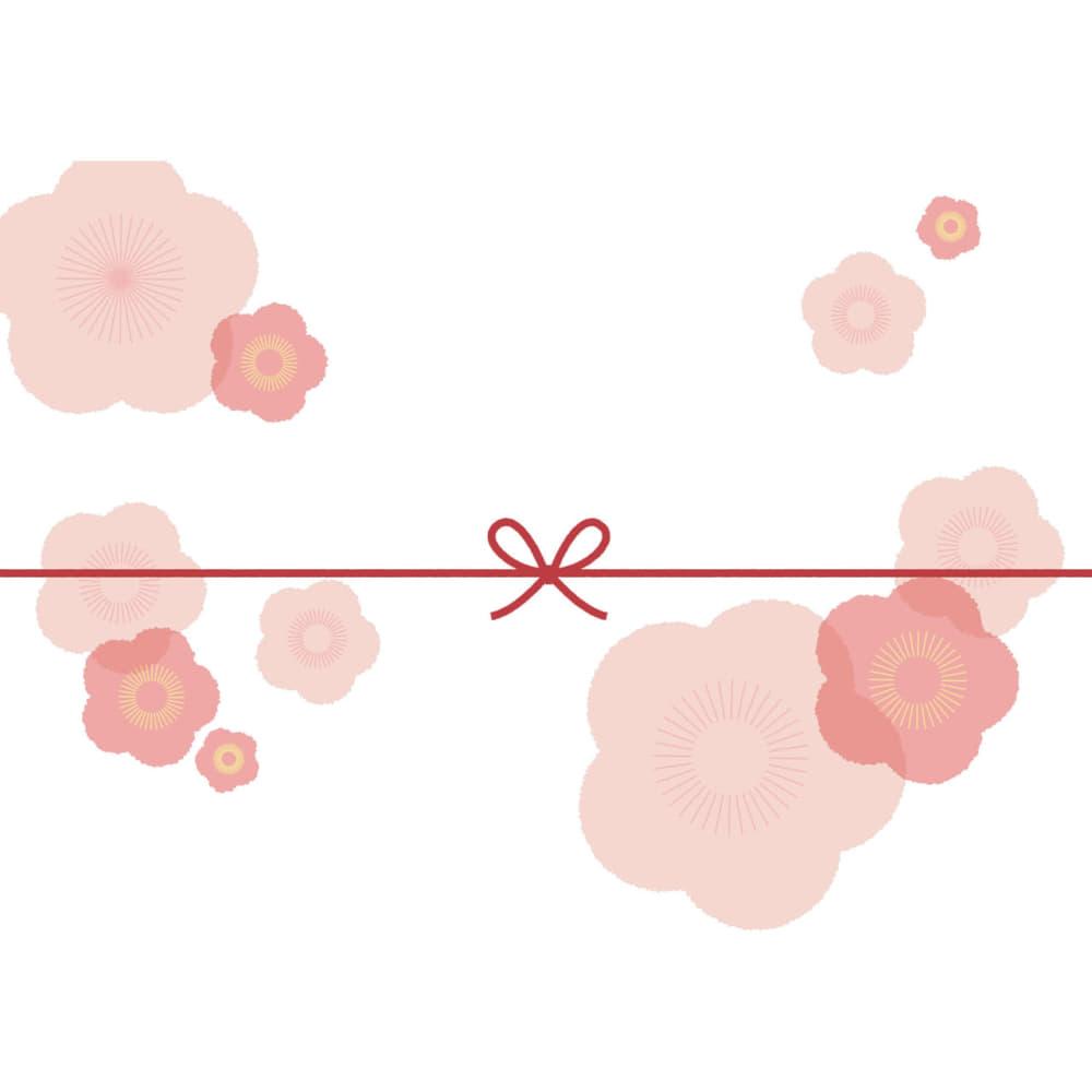 大きな桃の花を散りばめたカジュアルなのし紙(蝶結び)