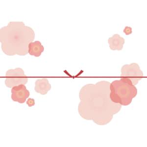 大きな桃の花を散りばめたカジュアルなのし紙(結びきり)