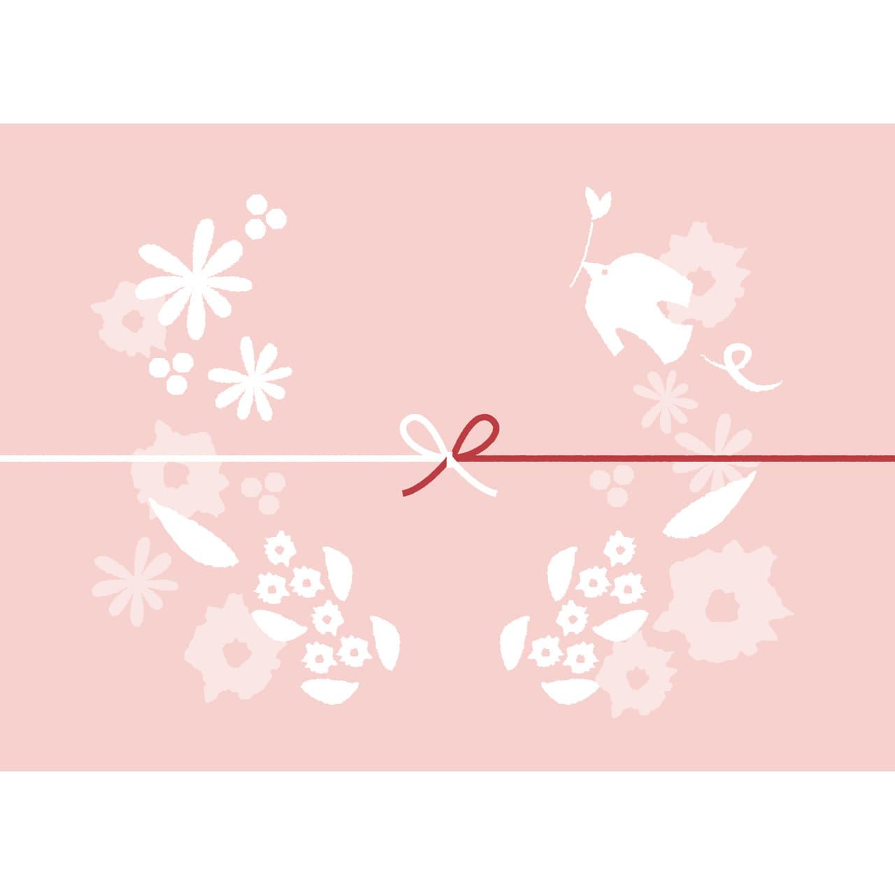 鳥や花を散りばめたピンク色のカジュアルなのし紙(蝶結び)