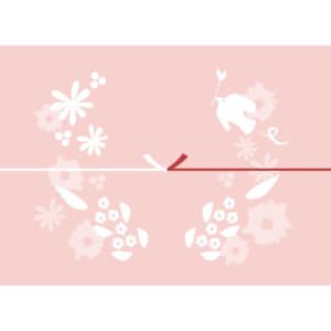 鳥や花を散りばめたピンク色のカジュアルなのし紙(結びきり)
