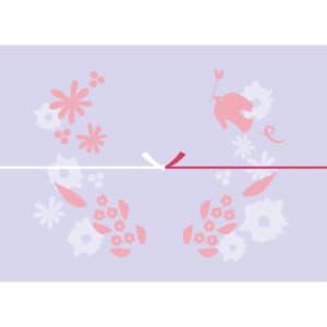 鳥や花を散りばめた紫色のカジュアルなのし紙(結びきり)