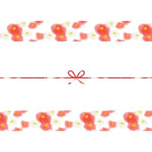 水彩で書いた紅白の椿の花のカジュアルなのし紙(蝶結び)
