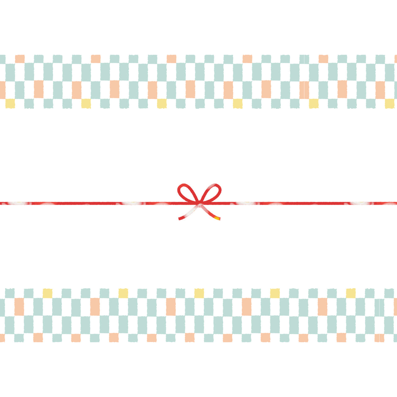 パステルカラーの市松模様のカジュアルなのし紙(蝶結び)