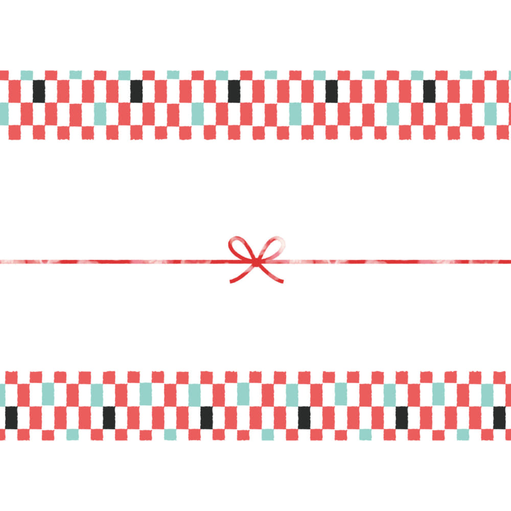 かわいいの市松模様のカジュアルなのし紙(蝶結び)