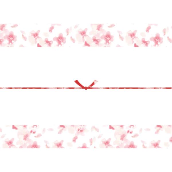 水彩で書いた桜のカジュアルなのし紙(結びきり)