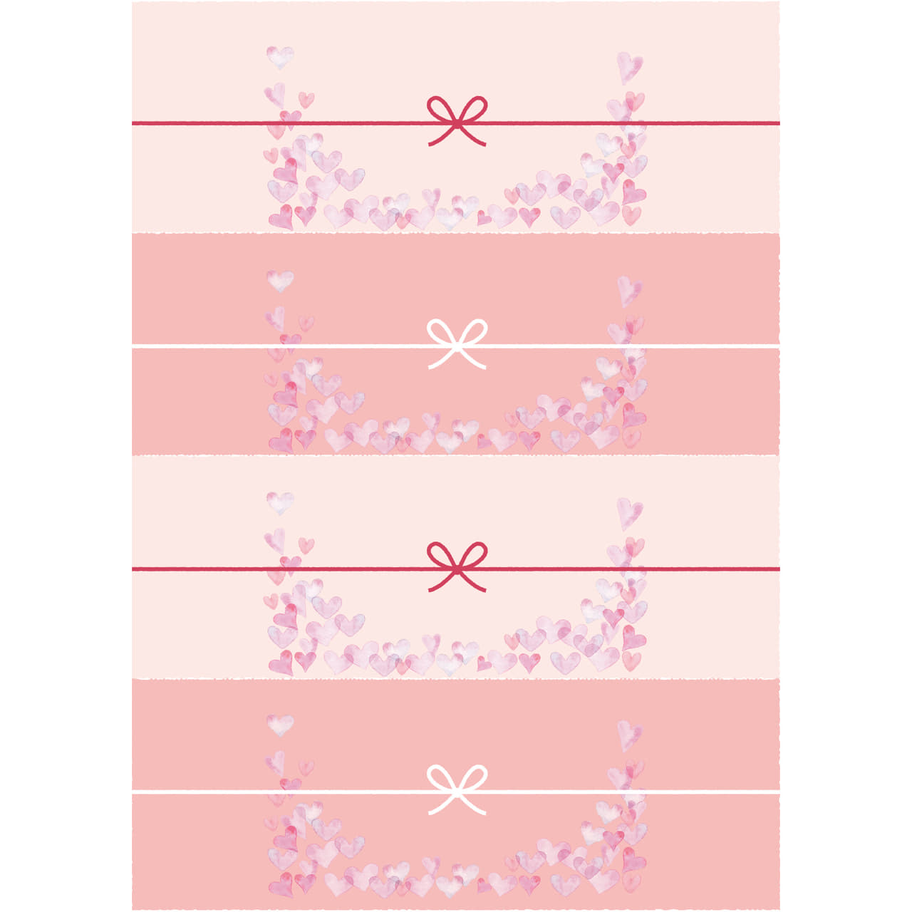 切って使えるピンク色のハートのかわいいのし紙(4分割)