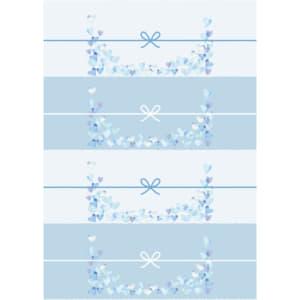 切って使える青色のハートのかわいいのし紙(4分割)