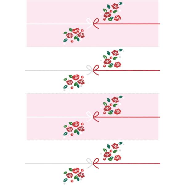 切って使える椿の花を散りばめたのし紙(4分割)