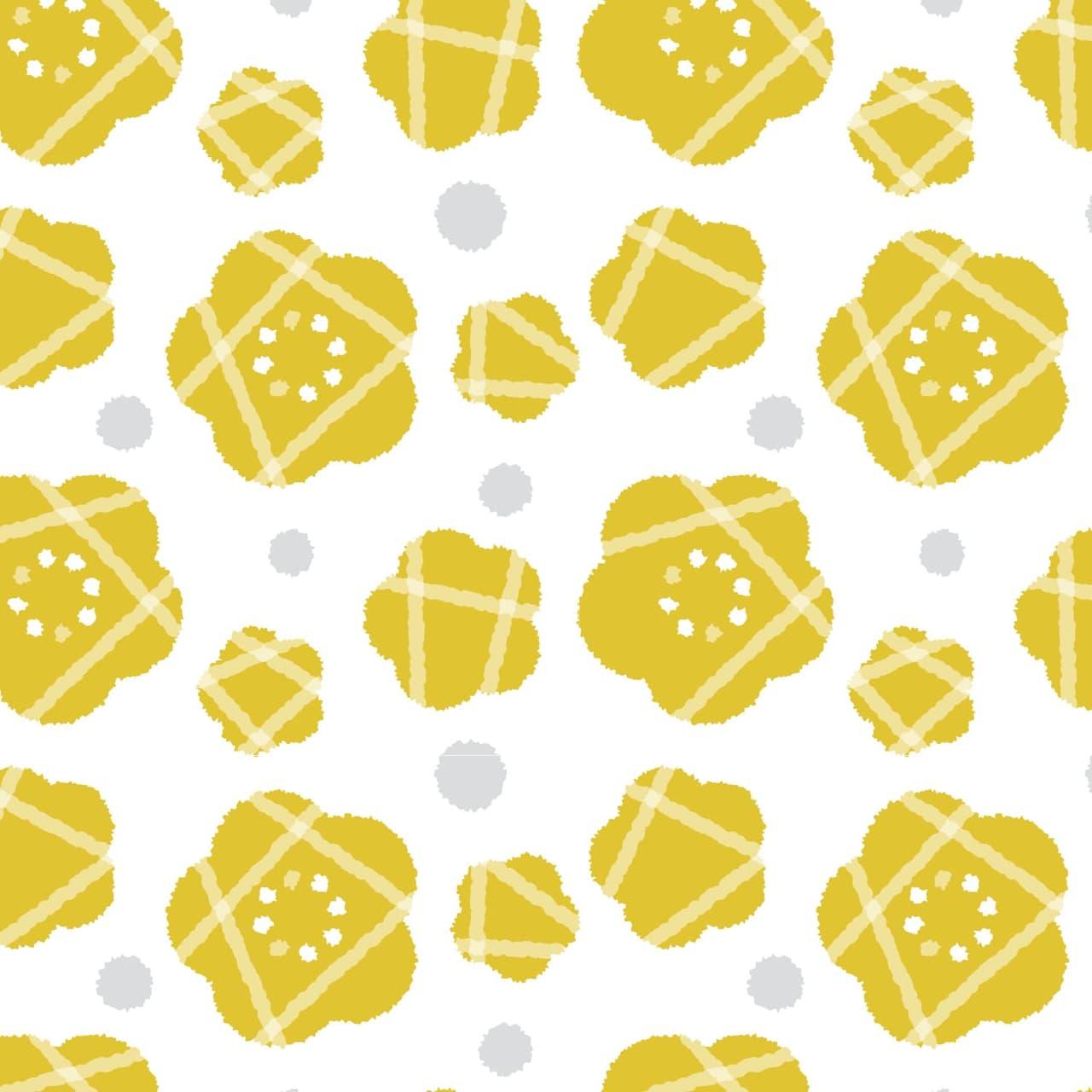 ポップな黄色い花のラッピング素材