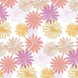 可愛いマーガレットの花を散りばめたラッピング素材