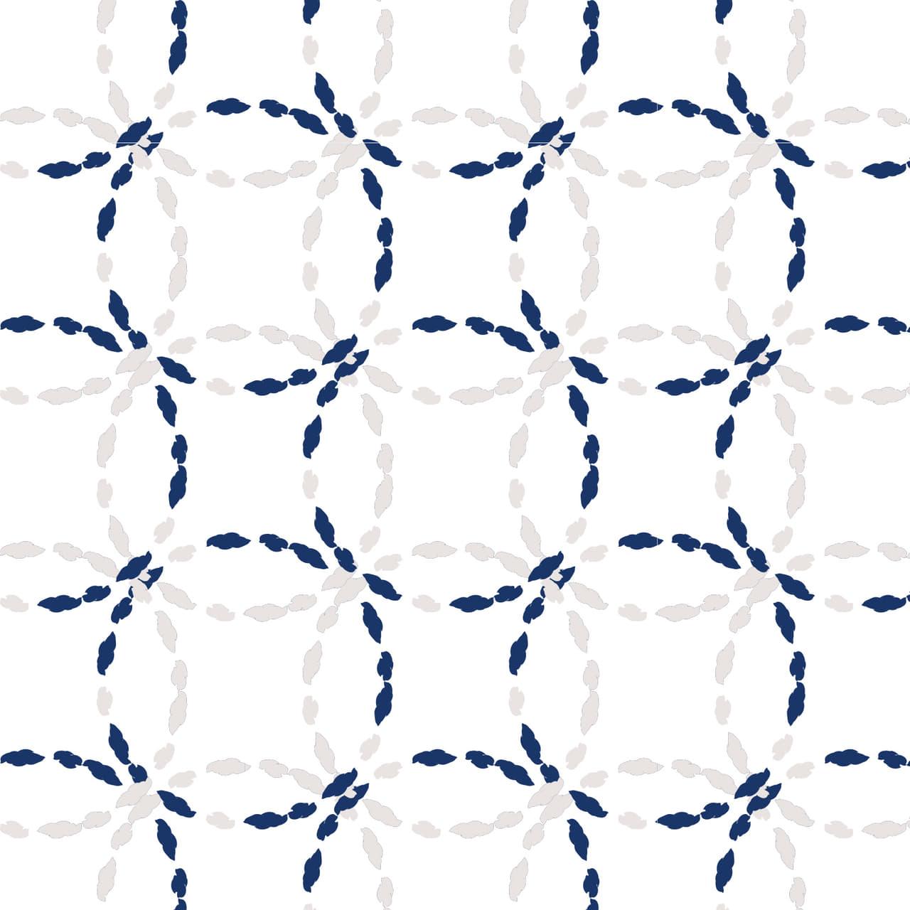 青色の紐で刺繍したような七宝柄のラッピング素材