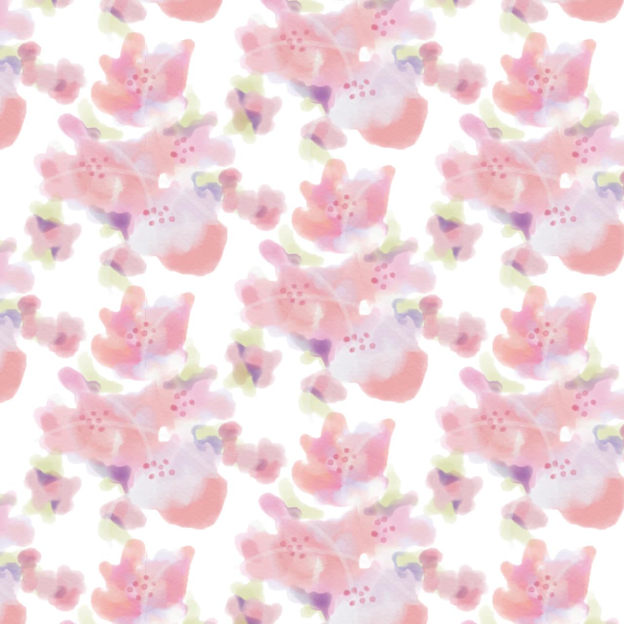 水彩で描いた小花のラッピング素材