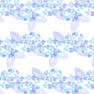 水彩で描いた青色のあじさいのラッピング素材