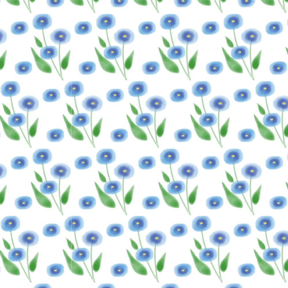水彩で描いた青い小花のラッピング素材