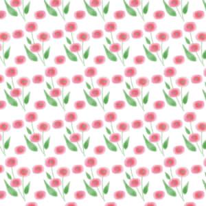 水彩で描いたピンク色の小花のラッピング素材