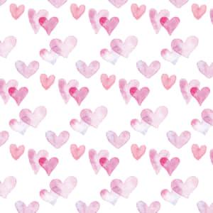 水彩のハート柄のラッピング素材 ピンク色ver