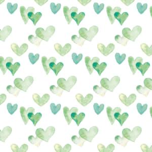 水彩のハート柄のラッピング素材 緑色ver