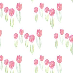 水彩のチューリップ柄のラッピング素材 ピンク色ver