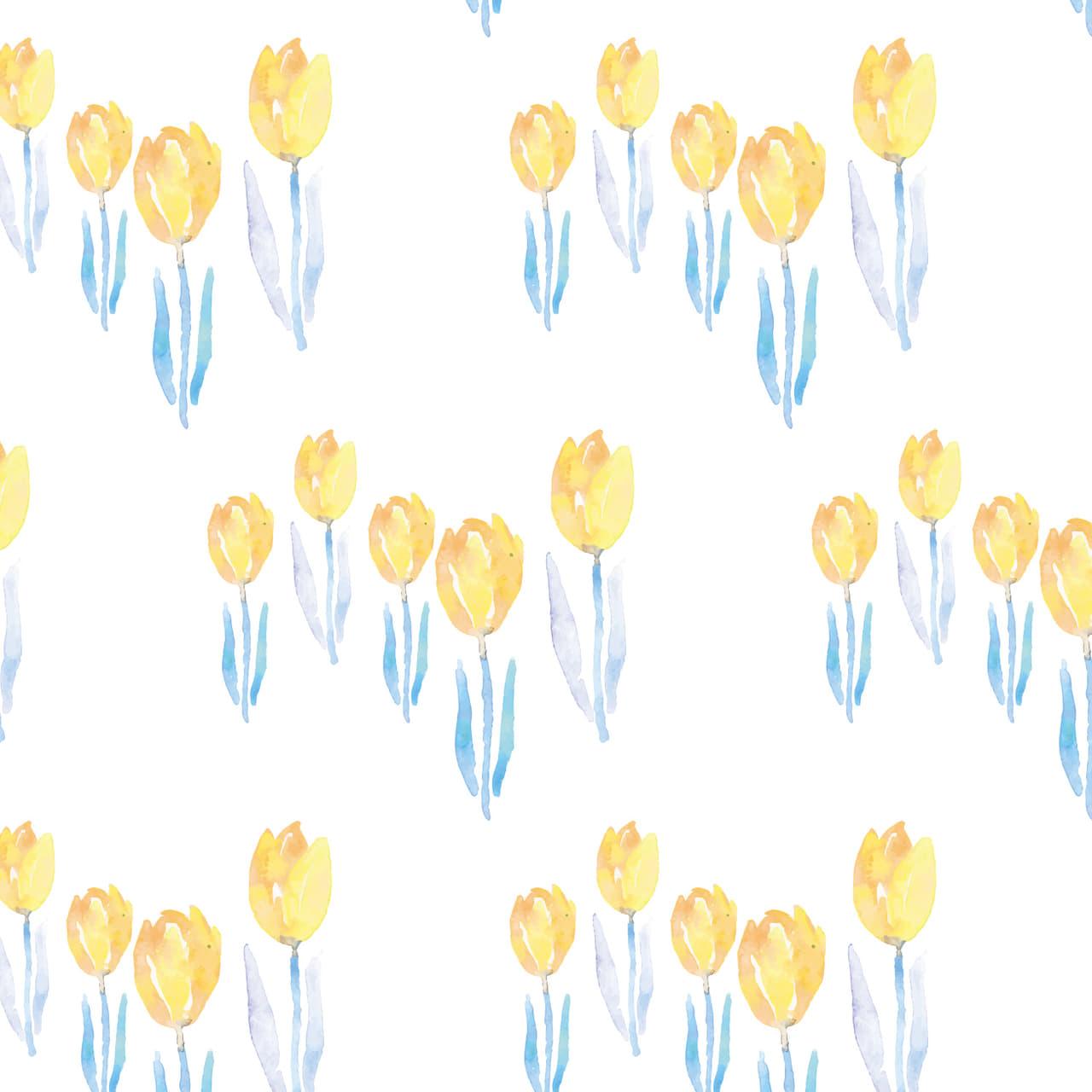 水彩のチューリップ柄のラッピング素材 黄色ver