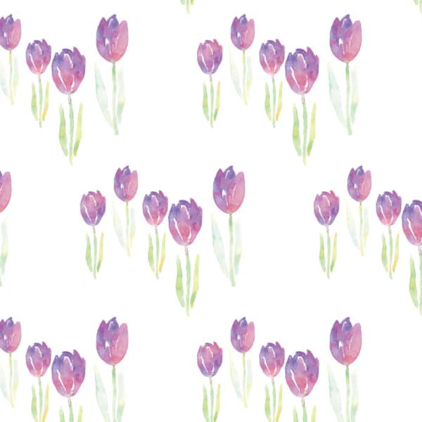 水彩のチューリップ柄のラッピング素材 紫色ver