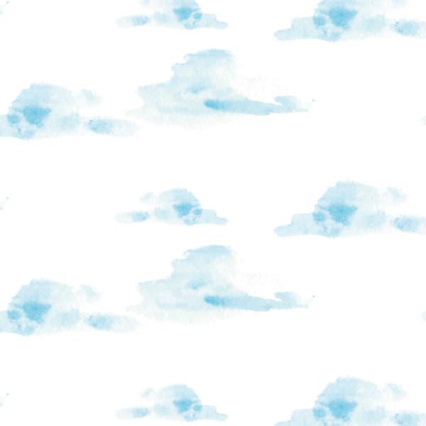 水彩の雲柄のラッピング素材 青色ver