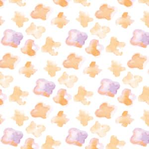 水彩で描いた小さな花のラッピング素材 オレンジ色ver