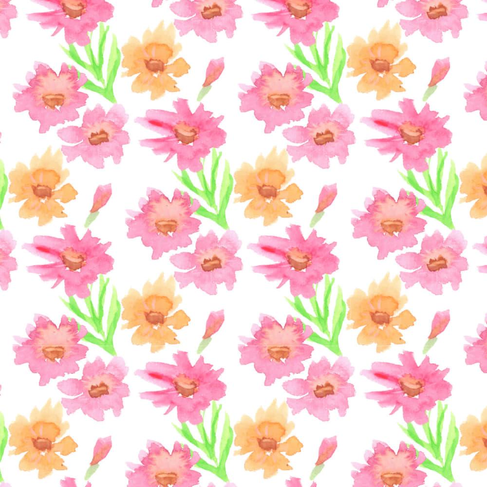 水彩で描いたコスモスの花のラッピング素材
