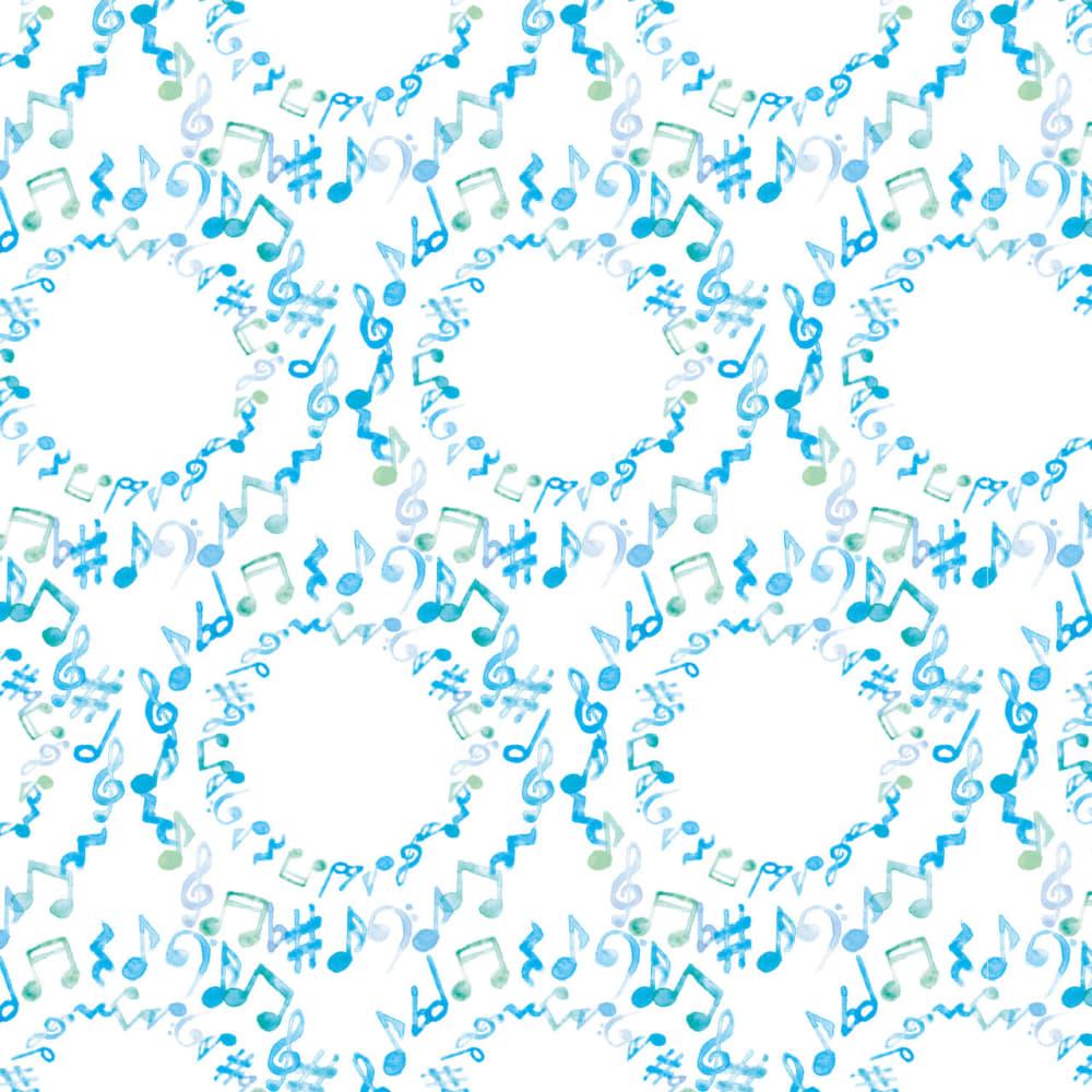 水彩で描いた音符のラッピング素材 水色ver