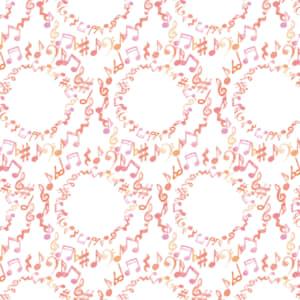水彩で描いた音符のラッピング素材 ピンク色ver