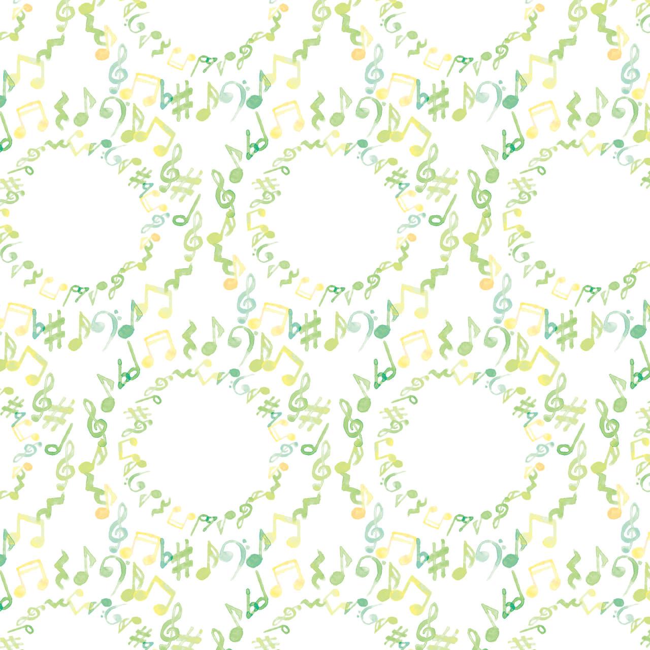 水彩で描いた音符のラッピング素材 黄緑色ver