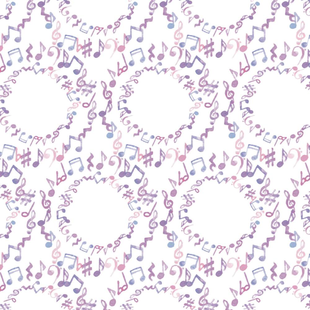 水彩で描いた音符のラッピング素材 紫色ver