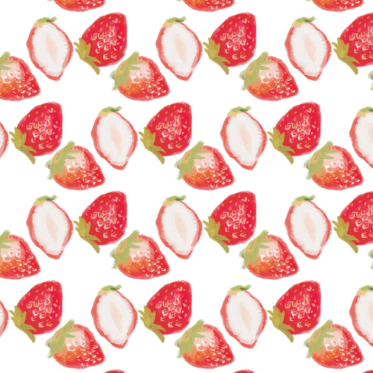手書きの苺のラッピング素材