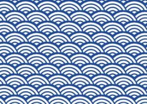 波の模様が美しい、青海波柄